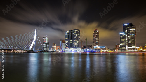 Deurstickers Rotterdam Rotterdam Skyline with Erasmus Bridge in the night, Netherlands