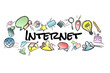 Internet title isolated on a background and surounded by multimedia icons - Internet concept