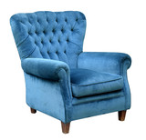 Upholstered blue velvet armchair - 141329009