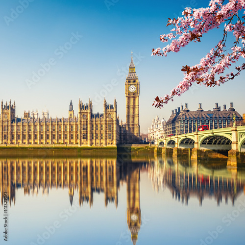 Poster Big Ben and westminster bridge in London