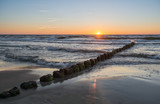 Beautiful sunset over Baltic sea. Summer landscape of Polish sea.