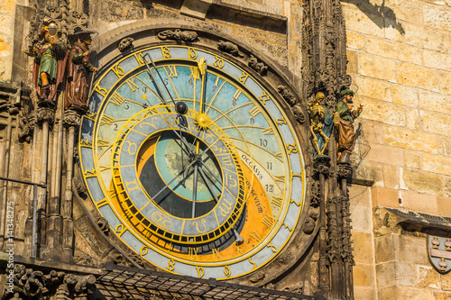 Close up of Prague Astronomical clock in old town square Poster