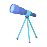 Telescope for schools. Device for astronomy. Device for inspection of the stars.School And Education single icon in cartoon style vector symbol stock illustration.