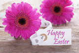 Pink Spring Gerbera, Label, Text Happy Easter
