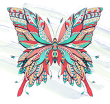 Patterned butterfly on the grunge background. - 141364057
