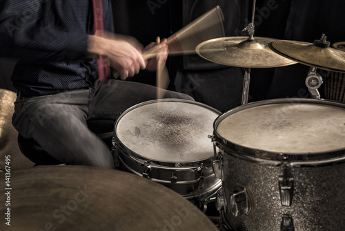 Drummer playing a rhythm
