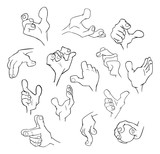 Set of Cartoon Illustrations. Hands with Different Gestures for you Design