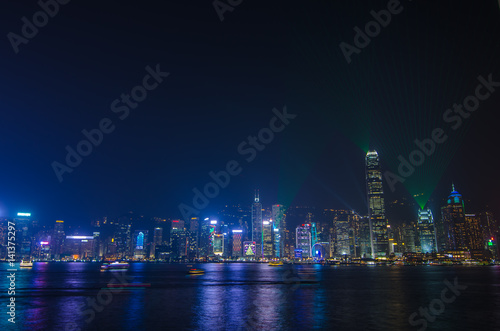 Poster Symphony of light at Victoria harbour at night in Hong Kong