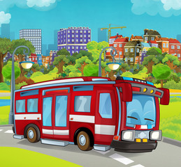 cartoon transportation firetruck near the city park illustration for children