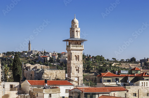 View of old Jerusalem and the minaret of the mosque al-Aqsa, Israel