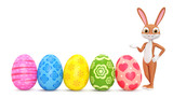 Easter bunny and a row of eggs on a white background. 3D rendered Illustration.