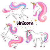Fototapety Beautiful watercolor unicorns set in pink and purple colors. Vector illustration.