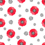 Seamless abstract watercolor poppies pattern. Vector floral background.  - 141389848