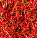 Red peppers for sale at the city market the Hingping - China