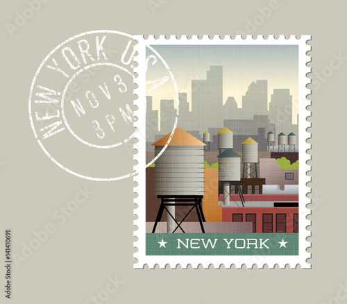 New York postage stamp design. Vector illustration of water towers on roof tops of buildings, with skyscraper silhouettes. Grunge postmark on separate layer