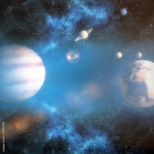 Plakat Composite image of solar system against white background 3d