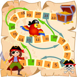 Board Game  Pirate Parrot Jolly Roger And Treasure Chest Wall Sticker