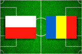 Flags Poland - Romania on the football field. Football qualifying matches 2018