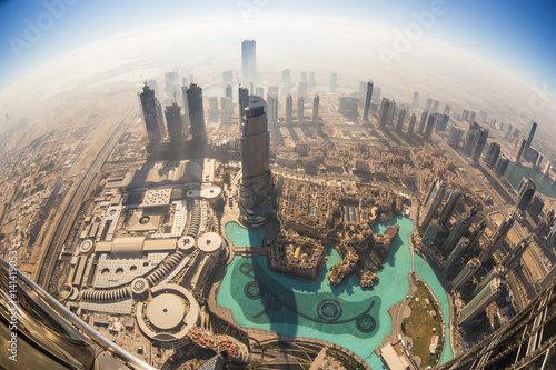 Poster Aerial view of Downtown Dubai from the tallest building in the world, Burj Khalifa, Dubai, United Arab Emirates