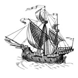 Old caravel, vintage sailboat. Hand drawn vector sketch. - 141423220