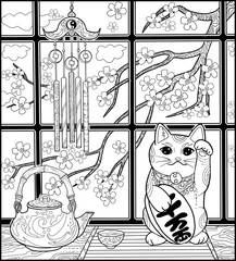 Japanese cat and sakura and tea for adult coloring book page. Maneki neco holds luck coin with hieroglyphics