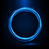 Abstract neon ring. Light effect. The whirlwind of shiny particles. Flashes of light on the Emerald Circle. Empty space for text. Vector illustration. - 141426608