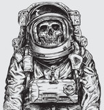 Hand drawn Astronaut Skull - 141433090