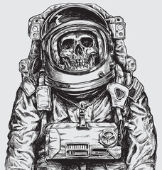 Hand drawn Astronaut Skull