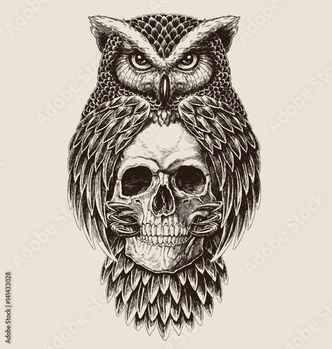 Elaborate drawing of Owl holding skull