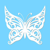 Vector, white butterfly on a blue background.  Laser cutting