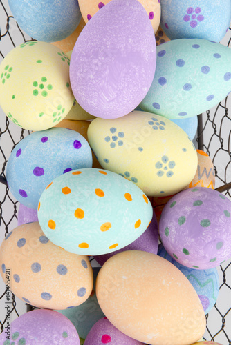 Close Up of Easter Eggs in Wire Tray for Backgrounds Poster