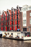 Houses and houseboats in Amsterdam