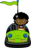 Cute Cartoon Girl in Dodgem Bumper Car