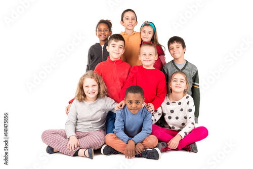 Fotografiet Group of happy kids