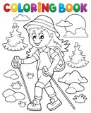 Coloring book woman hiker theme 1
