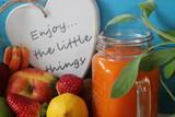fresh fruits vegetables and fresh juice, lemon, apples, banana, strawberries, carrot, lime,