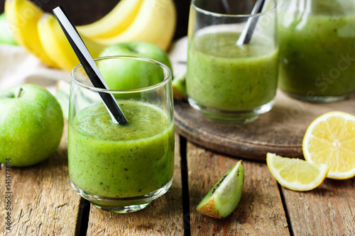 Green smoothies with fruits