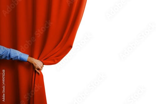 hand open red curtain Poster
