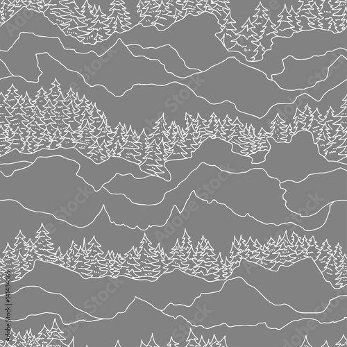 seamless pattern with trees and mountains - 141484665