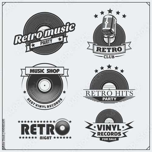 Retro music studio emblems, labels, badges and design elements. Vector set.