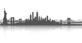New York City Skyline Vector White and White - 141493852