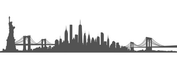 New York City Skyline Vector black and white
