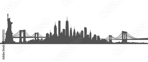 New York City Skyline Vector black and white - 141493835