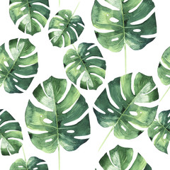 Tropical Hawaii leaves palm tree pattern in a watercolor style isolated. © yanushkov