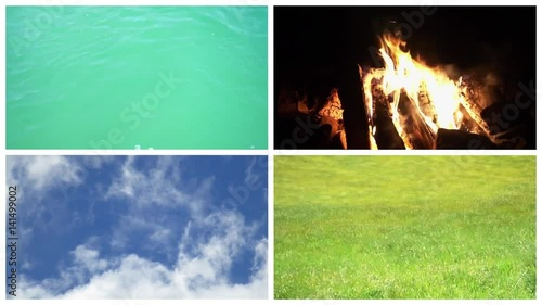 Earth water air fire, four classical elements elements concept - Video clips collage