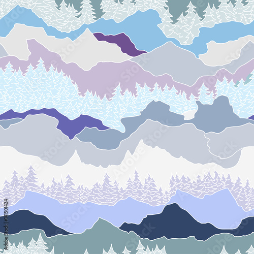 Cotton fabric seamless pattern with trees and mountains