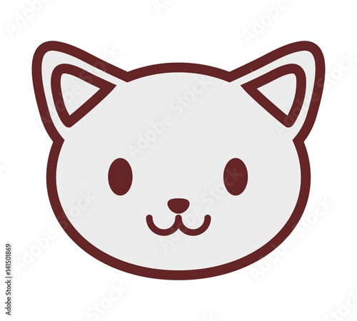 kawaii cat icon over white background. vector illustration