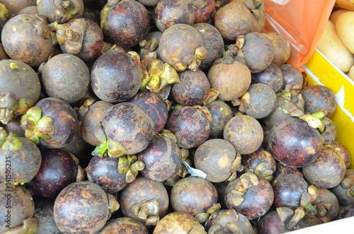 mangostine fruits at street food market