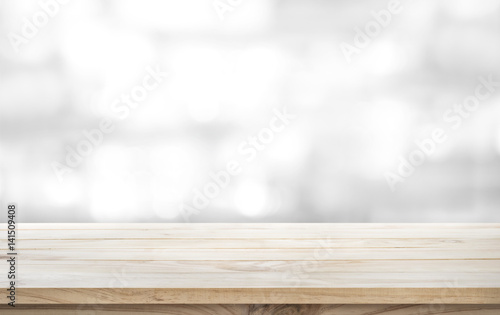 Wood table top on white abstract background.For montage product display design key visual layout