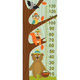growth measure tree with forest animal - vector illustration, eps